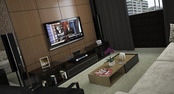 na sala com uma simples alteração pendurar a tv na parede tenho um